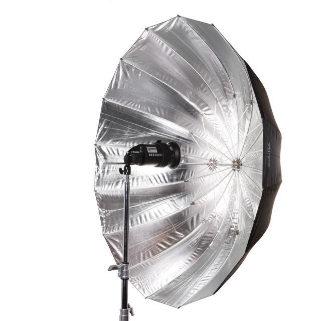 Paraguas L 130cm plateado