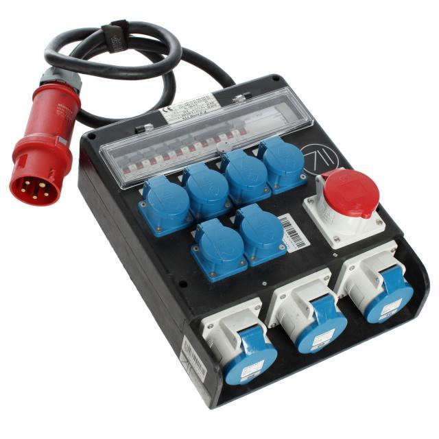 CEE 32 A Distribuidor > 1x 16A / 3x 32A azul / 6x Shuko con fusible