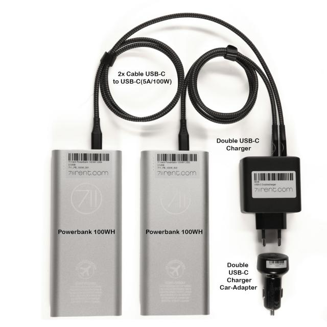 711rent Powerbank Travel Set (2x 100Wh)